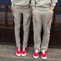 Wholesale Thicker Sport Pants - Wholesale-2016 men sport pants Korean striped mixed colors thicker fleece hooded men and women lovers sweatpants mens joggers
