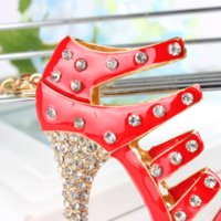 Sapato Red-Heel Keyring Charm Pendant Sacola de cristal Bolsa Car Key Chain Mulheres Beautiful Birthday Party Wedding Gift