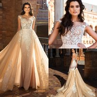 Wholesale mermaid detachable wedding dress skirt ruched for sale - Group buy 2017 Mermaid Wedding Dresses Sweetheart Full Lace Appliques Embroidered Beads Illusion Sheer Open Back Detachable Skirts Formal Bridal Gowns