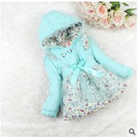 Wholesale Super Cute Coats - Wholesale-Super fashion cute girls double-breasted coat hooded thick cotton small floral cotton children's clothing free shipping
