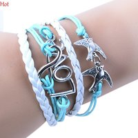 Wachsschnüre Leder Geflochtene Charme Armbänder Kaufen -Neue Charm Armbänder Lucky Branch Dove Leaf Lovely Bird Armband in Silber Mint Grün Wachs Schnüre Multilayer Leder Braid Armband Geschenke 19100
