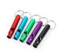 Wholesale Talking Keychain - Free shipping 11000pcs Mini Aluminum Whistle With Keychain Key Ring Outdoor Survival Emergency Exploring Dogs Training Promotions Gift!