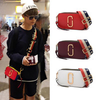 Wholesale Fashion Camera Straps - Fashion Genuine Leather Messenger Bags Snapshot Camera Bag Clutch Lady's Trunk Patchwork Sequins Plaid Wide Shoulder Straps Crossbody Bag