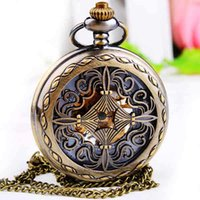 Wholesale Flip Fashion Watches - Leisure ladies mechanical watch retro carved hollow pocket watch flip manual mechanical allbronze neckace fashion Chistmas gift