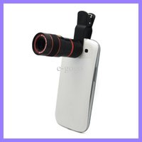 Wholesale Optical Zoom Ipad - Universal 8X Zoom Mobile Phone Telescope Camera Optical Lens with Clip for Samsung iPhone iPad Nokia HTC Long Focal Lens