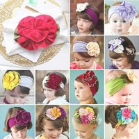 Wholesale Cheap Baby Girl Jewelry - 60 designs baby flower Bouquet Girl's Hair Headbands Bow Headband hair band girl head wrap Elastic Headband Kids Hair Jewelry cheap