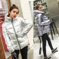 Wholesale Thin Cotton Spandex Shorts - 2017 autumn winter new women thick shiny short loose down jacket female hooded silver warm coat fashion badge Parkas