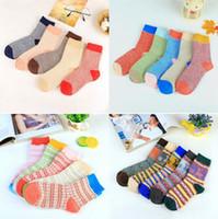 Wholesale girls thick warm socks - Wool Socks Women Winter Thermal Warm Socks Female Crew Fashion Colorful Thick Socks Ladies Casual National style Sock OOA3445