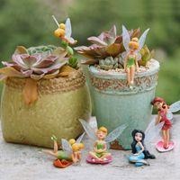 Wholesale elf accessories - 6 Pcs  Set Miniature Flower Fairy Elf Garden Home Houses Decoration Mini Craft Micro Landscaping Decor Diy Accessories