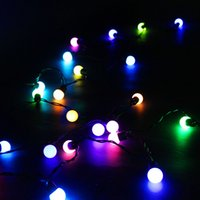 Wholesale Pure Marketing - 5M 50LED LED Ball Strings Christmas String Party Festival Market Decorative Light Ball String Lights 110v 220V Black Wire White Ball Strings