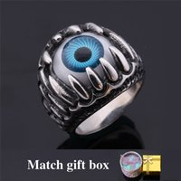 Wholesale Enamel Jewelry Box Blue - Blue Evil Eye Trendy Band Ring Never Fade 316L Stainless Steel Fashion Men Jewelry With GIFT BOX MGC GR380