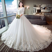 Wholesale wedding dress lace for fat for sale - Group buy 2019 Plus size for fat women wedding dress XL XL Special you in marriage beautiful V neck long sleeve lace up bridal dress