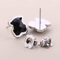 Wholesale Original Agate - New Stainless Panda style black agate stud Earrings Gold Silver Plated High quality no fade Brand Jewelry Original Design El oso pendientes