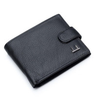 Wholesale Change Purse Hasp - Hot Sale New Fashion Black Genuine Leather Men Wallets With Coin Change Pocket Hasp Zipper Purse Wallet For Men Free Shipping