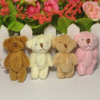 Wholesale Promotional Teddy - H=6cm Bulk 100pcs lot Cartoon Long Wool Plush Mini Joint Small Bear Bare Teddy Bear For Key Phone Bag Promotional gift Stuffed Dolls