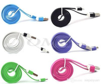 Wholesale Charger Mobile Phone Galaxy S4 - 1M 3FT Flat Noodle Micro USB Charger Cable Sync Data Charging Cables Cord Wire Line For Samsung Galaxy S4 S3 S2 Note2 Android Mobile Phone