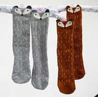 Wholesale Cartoon Animal Socks Toddlers - Cartoon Cute Children Print Animal Cotton Baby Kids Socks Knee High Long Fox Socks For Toddler Girl Totoro Socks Winter