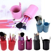 Wholesale brow bag - 12 pcs set Professional Makeup Brush Tools Set Leather Barrel Bag Cosmetic Powder Eye Shadow Brow Eyeliner Make Up Brushes Kit