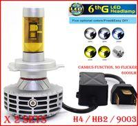 Wholesale Super Bright H4 Bulbs - DHL 2 Sets H4 HB2 9003 CREE 80W 6000LM LED Headlight 6th CANBUS No Error Flicker Conversion Kit High Low Beam LED Bulb Super Bright LED Bulb