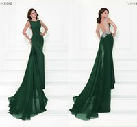 Wholesale Tarik Ediz Long Backless Dress - Backless 2016 Tarik Ediz Arabic Evening Dresses Scoop Crystals Mermaid Chiffon Evening Gowns Green Party Dresses
