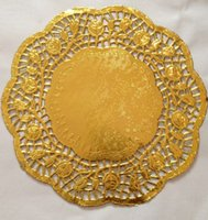 "Wholesale Paper Lace Doilies - 100 Pcs 12""=30cm Gold Round Lace Paper Doilies   Doyleys,Vintage Coasters   Placemat Craft Wedding invitations Table Decoration"