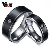 anéis de diamantes puros venda por atacado-Moda CZ Diamante Anéis De Titânio Para As Mulheres Homens Anel de Noivado de Casamento Não alérgica Pure Titanium Anel Jóias Presente