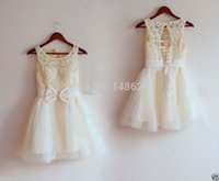 Wholesale Kids Girl Model Dress - 2017 Real Sale Model Pictures Champagne Ivory White Sash Ruffle Boys Clothes Kids Clothes A-line Lace Flower Girl Dress, Cute Kids Dress