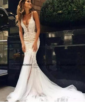 Wholesale Winter Fishtail Wedding Dress - 2018 Pallas Couture Mermaid Beach Wedding Dresses Lace Floral Long Train Custom Make V-neck Full length Fishtail Bridal Gowns Custom Made