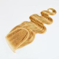bal sarışın dantelli kapatma toptan satış-# 27 Bal Sarışın Dantel kapatma Ücretsiz bölüm Ağartılmış Knot, 4x4 Brezilyalı Saç Vücut Dalga Sarışın Kapatma, Üst Kapatma Vücut Dalga Örgü