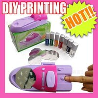 Wholesale newest gel nails - Newest Nail Art printer DIY Pattern Printing Manicure Machine Stamp Plate Stamper Drawing Polish Kit set Nail Gel Polish Nail Templates