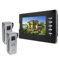 "Wholesale Security Camera W - 2 Cameras w  1 Monitor 7"" Color Video Door Phone Doorbell Intercom Kit IR Night Vision Camera Monitor For Villa Home Security F4358A"