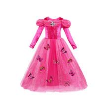 lange kleid kostüme großhandel-Cosplay Weihnachten Mädchen Kleid Kostüme Prinzessin Kleider Long Sleeve Butterfly Party Geburtstagsgeschenke Blätterteig Ärmel blau