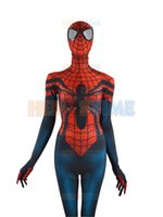Wholesale Kids Hero Halloween Costumes Girls - Spider-Girl Costume Mayday Parker Fullbody Spandex Halloween Female Spiderman Superhero Costume The Most Popular Zentai Suit Free Shipping