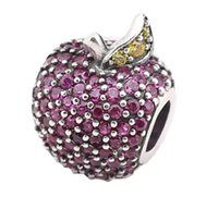 Wholesale apple pandora charms online - 100 Sterling Silver Charms Ale Rhinestone Red Apple Charms for Pandora Bracelets DIY Beads Accessories Fruit Gift