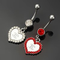 Wholesale Christmas Bells For Sale - Heart Navel Piercing Body Jewelry Fashion Belly Rings Stainless Steel And Zinc Alloy Belly Button Rings For Sale With Rhinestone C002