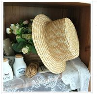 Wholesale Ladies Straw Fedora - Wholesale- 2017 Hot Lady Boater sun caps Ribbon Round Flat Top Straw Fedora Panama Hat summer hats for women straw hat diy hats
