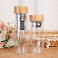 Wholesale electric hot water bottles - Tea Filter Cups Double Layer Glass Cup Heat Resisting Bamboo Cover Water Bottle Portable Drinking Tumblers 350ml 450ml 20 5bd C RZ