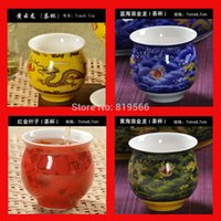 Wholesale Chinese Tea Set Dragon - Wholesale-4pcs lot Quality Chinese Dragon Ceramic Tea Cup Kungfu Tea Set Drinkware Colors Cups