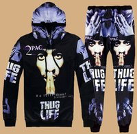 Wholesale Hiphop Jogging Pants - New 2 Pac hiphop Emoji Joggers Hooded Tracksuit Women Men Autumn Sport Suit Dollars Bill Hoodie Sweatshirt&Pant Jogging Costume Set Casual