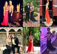 Wholesale Evening Teen Dress - Real Image Miss USA Pageant Dress 2016 Sheer Neck Gold Appliques Mermaid Black Red Teen Evening Prom Gown Occasion Event Wears Cheap Custom
