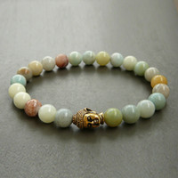 Wholesale amazonite jewelry - SN0244 Buddha Amazonite Bracelet Meditation Stretch bracelet Yoga Jewelry healing buddhist bracelet gift for her Free Shipping