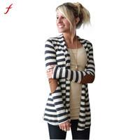 Wholesale Open Sweater For Women - Wholesale- 2017 Winter Fashion Outerwear Women Long Sleeve Stripped Casual Strip Patchwork Womens Cardigans Coat Sweater For Women MiMi