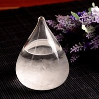Wholesale Drop Crystals - Mini Storm Glass 8*11cm Weather Predicting Forecaster Miniature Tabletop Storm Glass Barometer Crystal Drops Creative Crafts Arts OOA3626