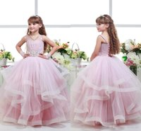 Wholesale Christmas Dresses Baby Girls Model - 2016 Pink Ball Gown Wedding Flower Girl Dresses Tutu Spaghetti Beaded Sash Sweep Train Ruffles Corset Girls Pageant Dresses Baby Party Gowns