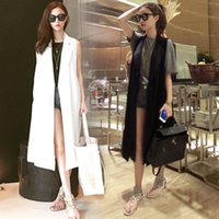 Wholesale Korean Dress Fashion Black Color - Wholesale-2015 korean fashion solid color black white loose palazzo maxi long blazer suit collar trench vest coat sleeveless dress casacos