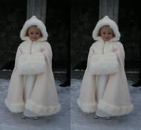 Wholesale Ruffle Girls Coat - 2015 Gorgeous Winter Flower Girls Cloak Jacket Gril Pageant Coat Charmeuse Floor Length Wedding Party Winter Coat Cute Christmas Coat 2016