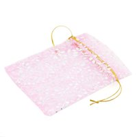 Wholesale Favor Express - Wholesale-50PCs Organza Gift Jewelry Bags Pouches Wedding Favor Golden Pink 12cmx10cm (Over $110 Free Express)