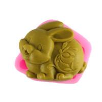 Wholesale Soap Rabbit - 3D Free shipping Silicone Cake Mold Easter Bunny Fondant Chocolate Mold zodiac Rabbit Handmade Soap Mold Cake Baking Tools Q083