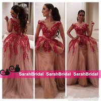 Wholesale sexy women military - Myriam Fares 2016 Celebrity Military Ball Gowns Two Pieces V Neck Red Lace Sequin Nude Tulle Women Wear Arabic Prom Formal Evening Dresses