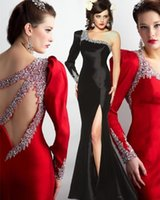 Wholesale One Shoulder Open Back Slit - 2016 Awesome Long Sleeve Prom Dresses One Shoulder Open Back Crystals Mermaid Satin Formal Party Dresses Evening Gowns Side Slit Full Length